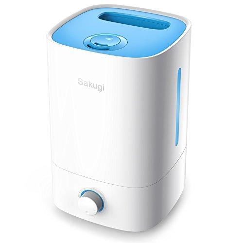 加湿器,Sakugi 3.5L 大容量 超音波式 加湿器 長時間連続稼働 乾燥対策 卓上加湿器 ミストの吹出が360°調整可能 静音、省エネ 空焚き防止機能付き