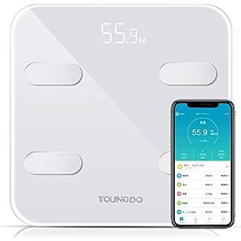 体重計 体組成計 体脂肪計 YOUNGDO スマートスケール Bluetooth 体脂肪率 体水分率 筋肉率 骨量 内臓脂肪 蛋白質率 BMR(基礎代謝量) 体年齢 日本語アプリで同期分析 ホワイト