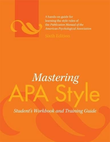 Download Mastering APA Style: Student's Workbook and Training Guide 143380557X