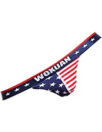 【ノーブランド品】 男性 セクシー アメリカ 国旗柄 下着 Tバック Gストリング パンツ 赤 柔らかい 全4サイズ