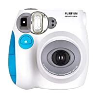 Saikogoods FUJIFILM インスタントカメラ チェキ 専用ケース オートフラッシュ固定焦点マニュアル露出補正1/60秒のシャッターを持つ富士フイルムインスタントカメラ・チェキMINI 7Sインスタントフィルムカメラ 青