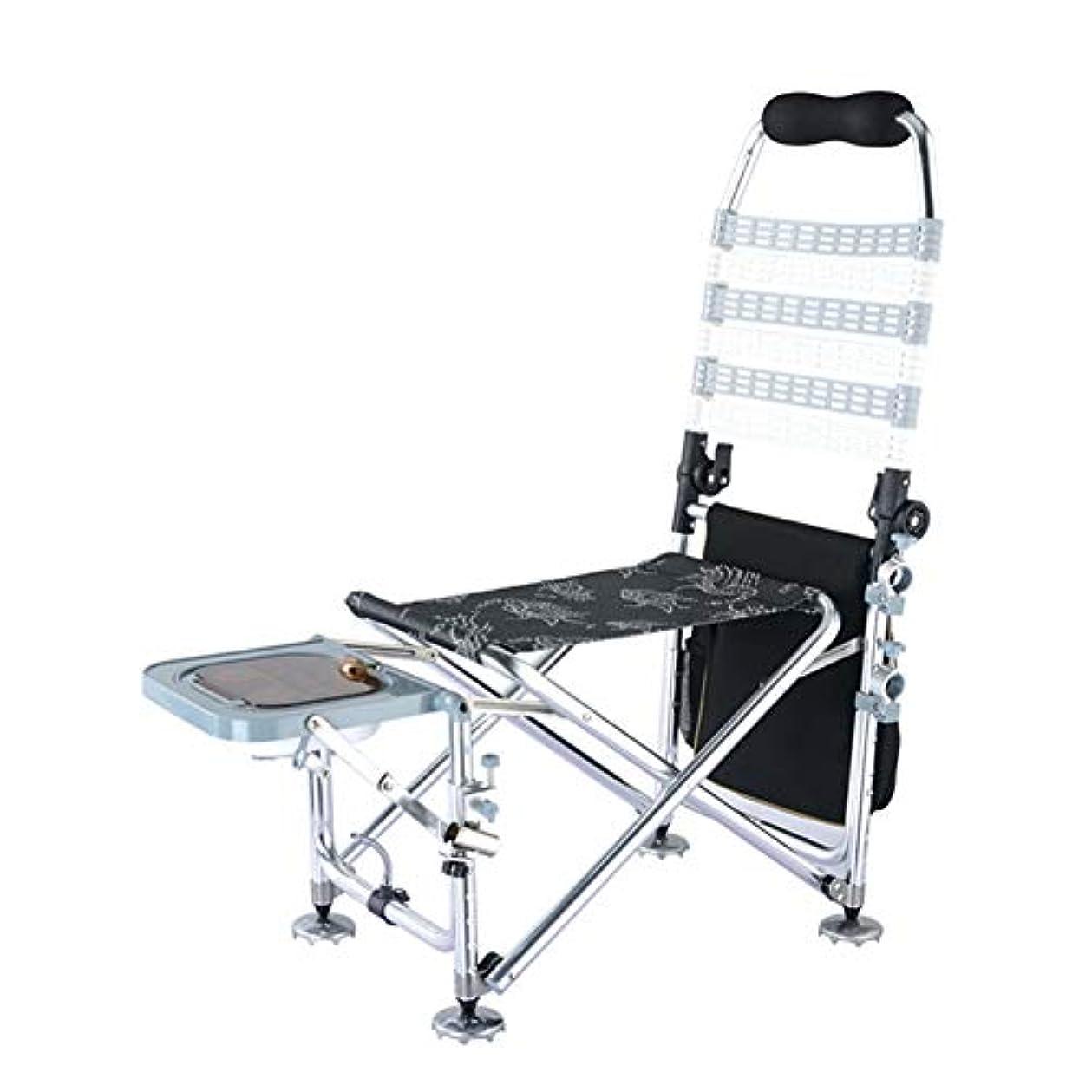 幾何学グレード一貫性のない屋外折りたたみ釣り椅子、超軽量アルミ合金多目的釣り椅子釣り機器、快適なハイバックデザイン、ポータブルキャリングケース付きトラベルチェア
