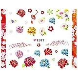 牡丹ネイルシール【レッド】花柄ネイル 和柄ネイル 和装ネイル フラワーシール 浴衣ネイル 和花ネイル ネイルアート