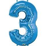 クォラテックス社バルーン数字 (3)大きさ約90センチ ブルー Qualatex number big baloon お誕生日 飾り 数字 ナンバー