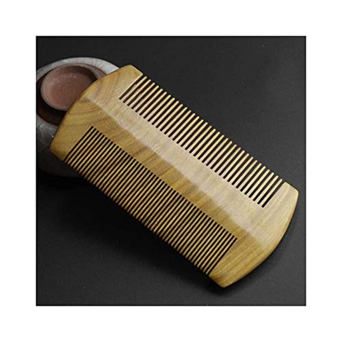 揮発性非効率的ななだめるWASAIO 両面木製のくしメンズビアードカーリーストレートヘアブラシブラシ手作り抗静的グリーンサンダルウッドマッサージ (色 : オレンジ)
