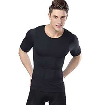 加圧インナーシャツ MENS BODY SHAPER VEST (M, 黒)