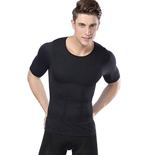 加圧インナー 加圧シャツ 機能性インナー トレーニングシャツ コンプレッションウェア 補正下着 半袖 メンズ ダイエット お腹引き締め 筋トレ 猫背矯正 腹筋 (L, 黒)