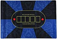 Authentic Poker Mat Digital Printed Rubber Foam (Blue and Black, 35.4 x 23.6 inches (90 x 60 cm), Storage Bag