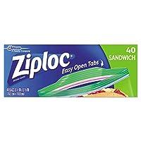 Ziploc Resealableサンドイッチバッグ、61/2x 57/8、1。2Mil、クリア、40/ボックス、12Bx/Ct