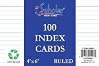 iScholar Index Cards White Ruled 4 x 6 Inches 100 Card Pack (04603) [並行輸入品]