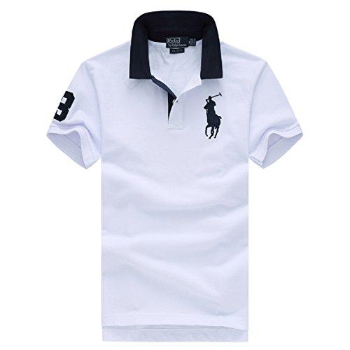 (ポロラルフローレン)POLO RALPH LAUREN メンズTシャツ 夏 ポロシャツ スタンドカラー カジュアル スポーツ 綿100% 刺繍 鹿の子 ファッション 半袖 カーディガン (XXL, ホワイト) [並行輸入品]