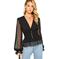 Floerns Women's V Neck Mesh Sleeve Ruffle Hem Peplum Blouse Top