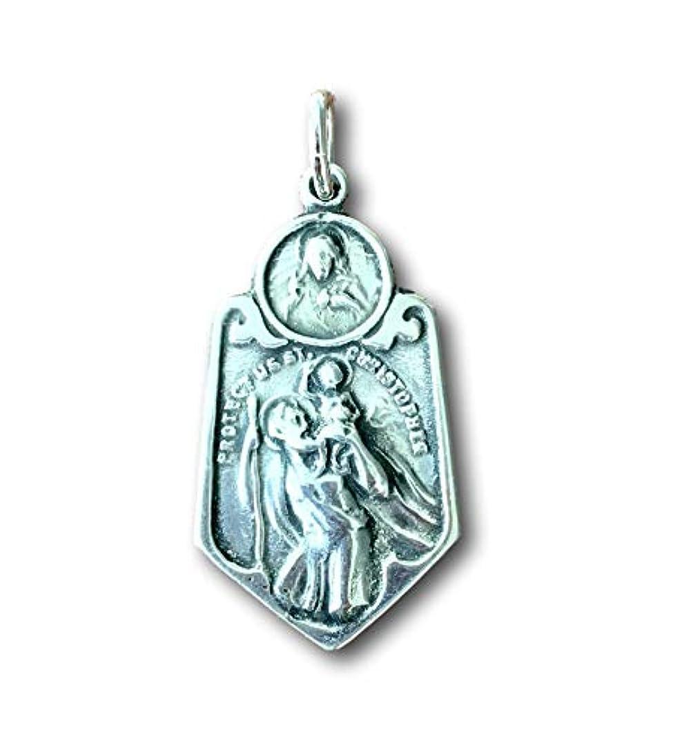 聖人有用バリケードSTクリストファー?Scapular Medal – travelers-の守護Antique Reproduction シルバー