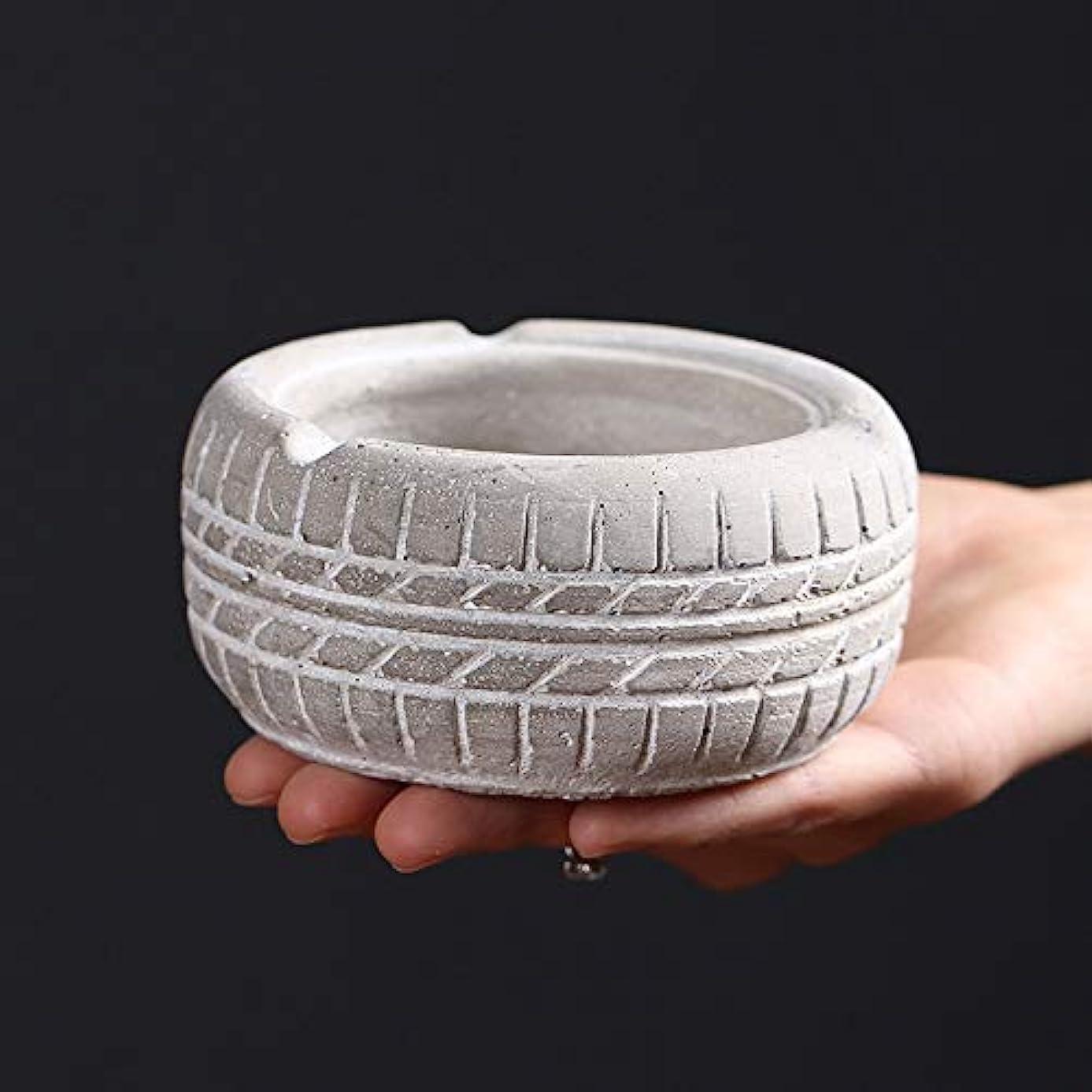 学者不確実価格レトロな灰皿のタイヤの形、パーソナライズされた創造的な灰皿のデスクトップの装飾品、から選択するさまざまな色 (Size : 白)