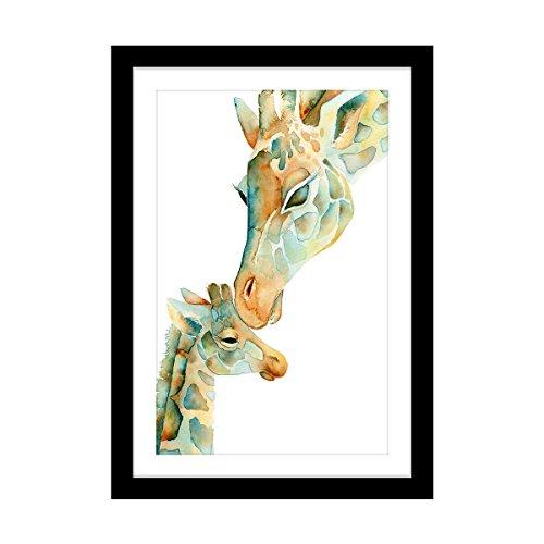 ポスター フォトフレーム おしゃれ アートパネル 絵画 親子キリン インテリア 動物 アートフレーム額縁 a3 木製 32.5*45cm