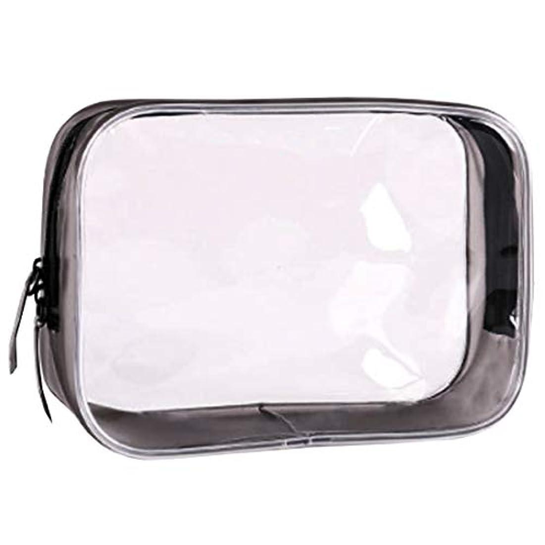 クリアポーチ トラベルポーチ 透明ポーチ ビニールポーチ PVC 化粧品収納 小物入れ 防水 (L)