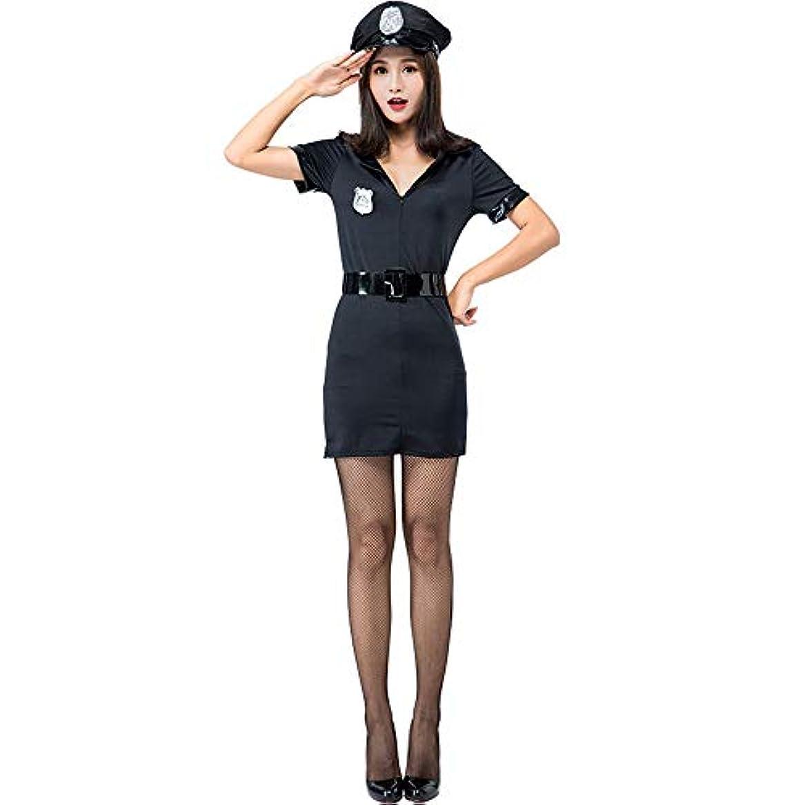 もの十分な小麦MissingY ハロウィン コスプレ ポリス 警察 婦人警官 コスチューム 制服 黒 衣装 ハロウィン 仮装 スカート ワンピース 大人 レディース 4点セット