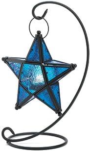 Gifts & Decor Blue Sapphire Star Tabletop Candleholder Lantern Decor
