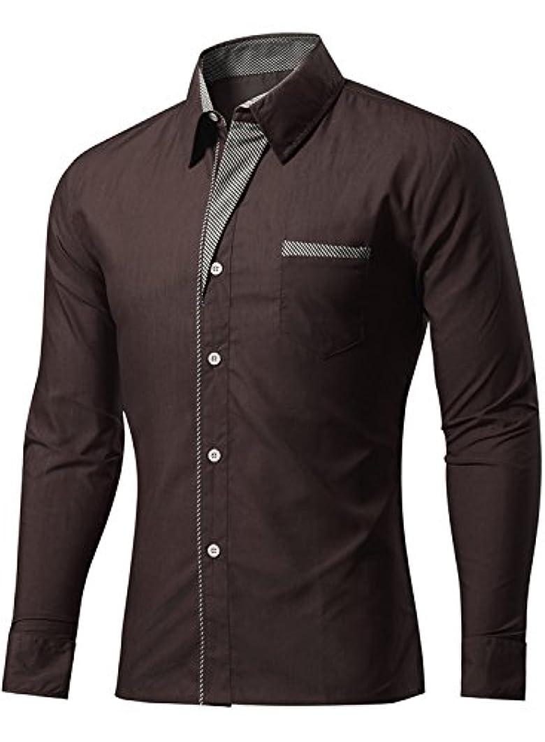 うがい薬一晩共産主義者(アザブロ) AZBRO メンズ 綿20% 無地 折り襟 修身 長袖 シャツ