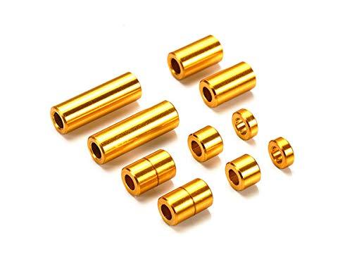 アルミスペーサーセット (12/6.7/6/3/1.5mm各2個) (ゴールド) [ミニ四駆特別企画]