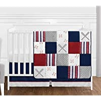 Sweet JoJo Designs Red White and Blue Baseball Patch Sports Baby Boy Crib Bedding Set Without Bumper - 4 Pieces - Grey Patchwork Stripe [並行輸入品]