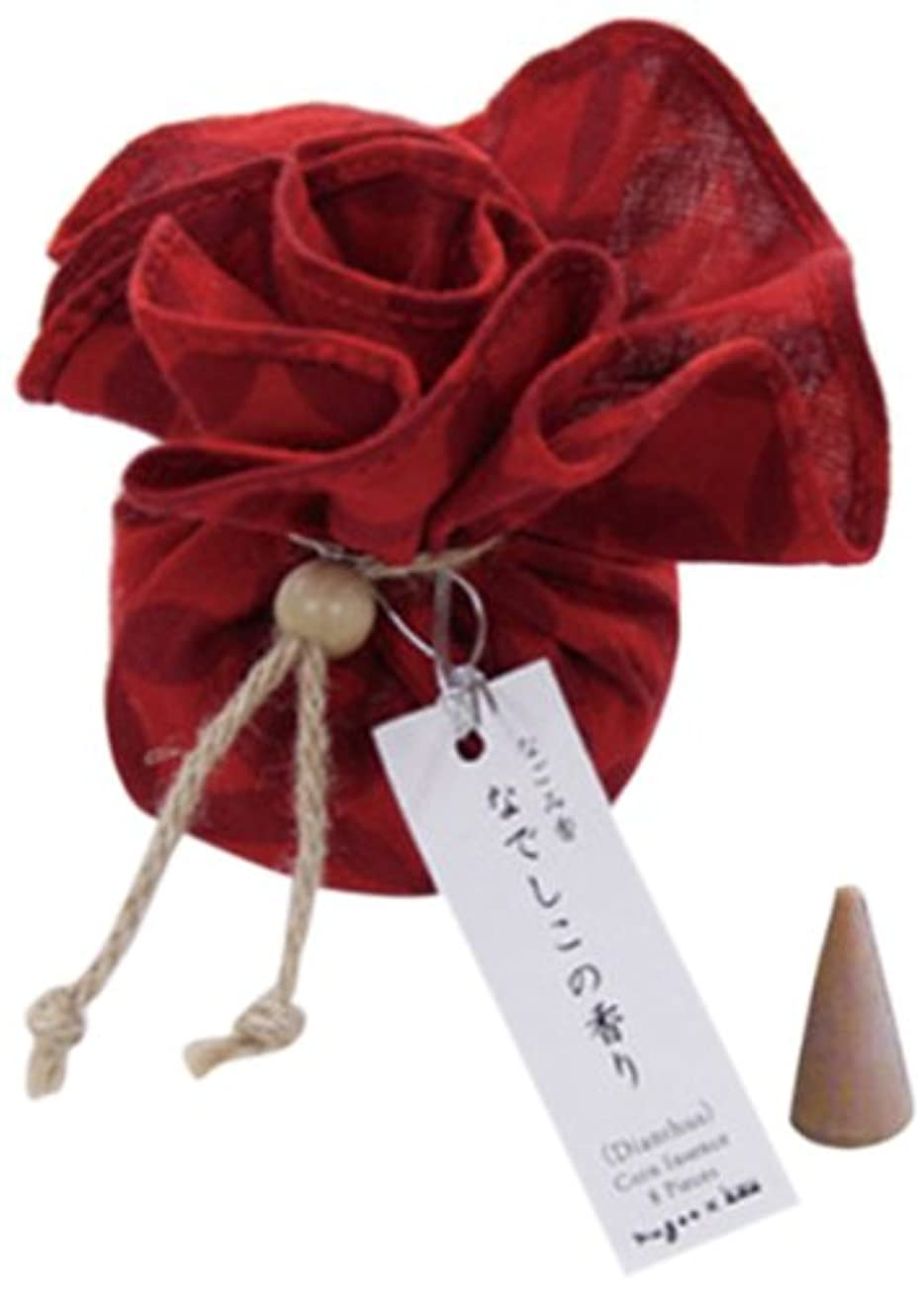 書誌競う中絶なごみ香 手拭巾着包 お香(コーンインセンス) なでしこの香り nugoo×kou 七宝紋(赤)