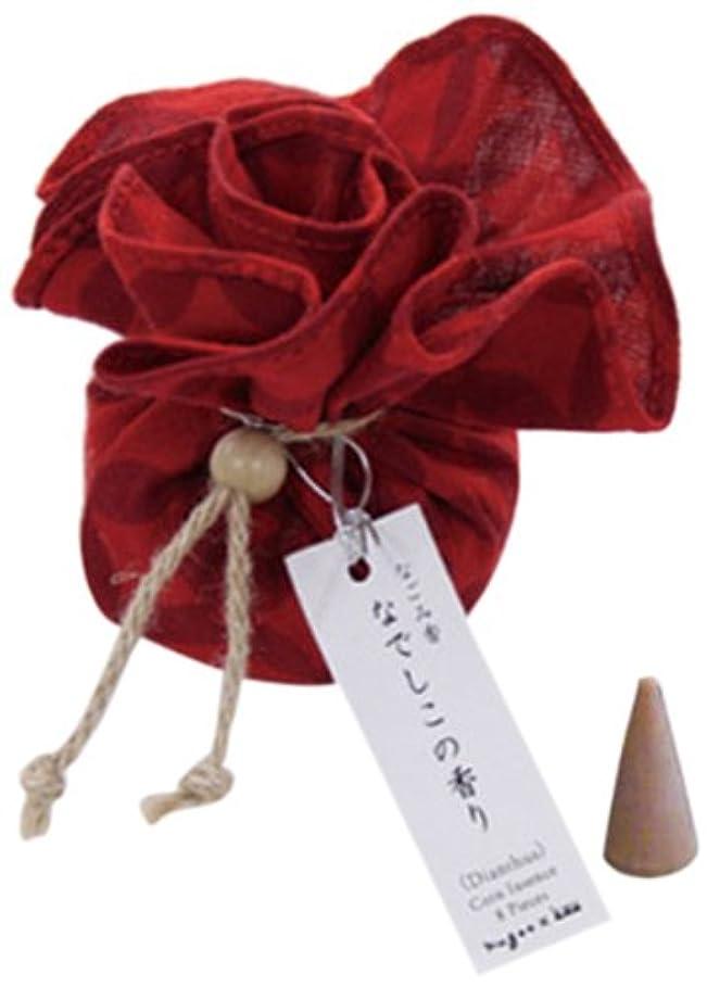 ハチ村についてなごみ香 手拭巾着包 お香(コーンインセンス) なでしこの香り nugoo×kou 七宝紋(赤)