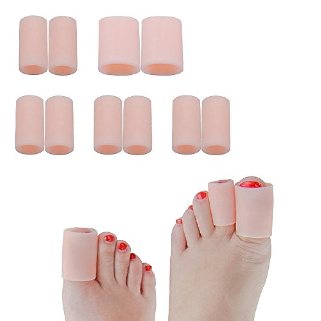 アジア通行料金ケーブル足指保護キャップ つま先プロテクター 足先のつめ保護キャップ シリコン (肌の色, 1組の大きなゲル+4組の小さなゲル)