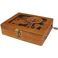 Balai刻印木製音楽ボックスA Elephant Engraved on Top動物Hand Wind Upメカニズム音楽ボックス