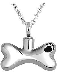 luckyjewelryペットPaw Prints犬ボーンペンダントネックレスMemorial灰記念品 – 火葬ジュエリー