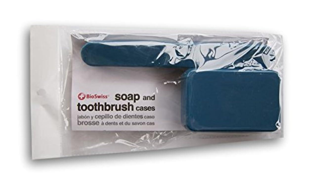 ローラー免除固めるBioSwiss Soap、歯ブラシTravel Cases ブルー