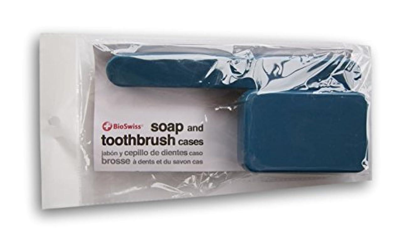 シングル早熟アメリカBioSwiss Soap、歯ブラシTravel Cases ブルー