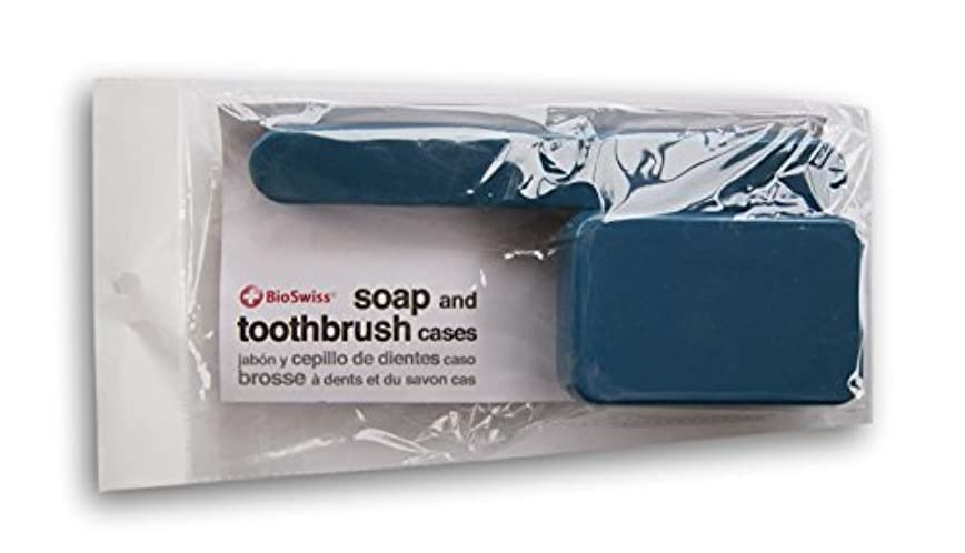 モンク感嘆糸BioSwiss Soap、歯ブラシTravel Cases ブルー