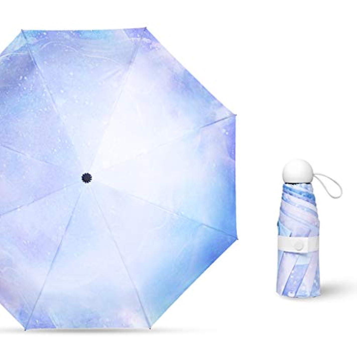 拍手申請中保全ミニ防風旅行傘、コンパクト折りたたみ傘、8リブ、紫外線保護、軽量速乾性 (Color : Blue)