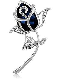 Ruikey  新しい ファッション ブローチ ローズデザイン 水晶 クリエイティブ 古典 シンプル おしゃれ アクセサリー キラキラ ジュエリー プレゼント 贈り物 ブルー