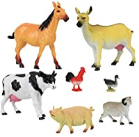 Click N' Play CNP0916 Realistically Designed Jumbo 10 Farm Animals 7Piece Playset Brown/A [並行輸入品]