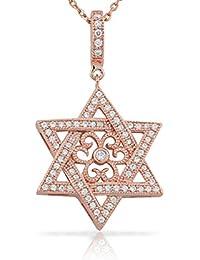 925 Sterling Silver Rose Gold-Tone Jewish Star of David CZ Filigree Pendant Necklace