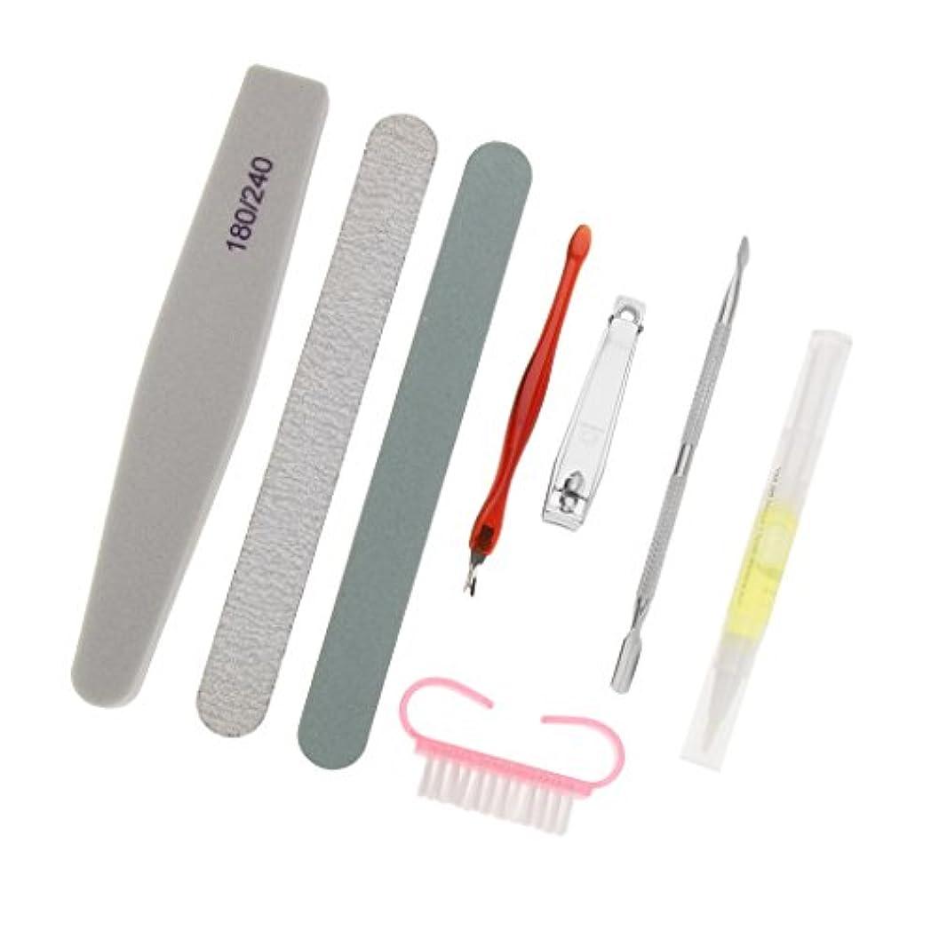 いじめっ子技術的な自治的Toygogo マニキュアツールの8ピース/個-3個のネイルファイル、1個のネイル栄養ペン、1個のネイルニッパー、1個のネイルブラシ、2個のキューティクルプッシャービューティー&パーソナルフィンガー&ネイルケアツール