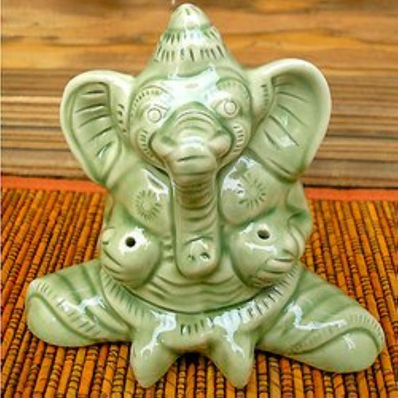 クリスマスするだろう以内にタバナン焼 お香たて ガネーシャ 艶 アジアン雑貨