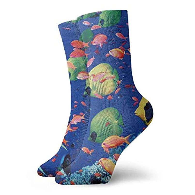 横向き気付く蜜クルーザーユニセックスカラフルドレスソックス、魚水中海、冬ソフトコージー暖かい靴下かわいい面白いクルーコットンソックス1パック