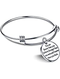 You're Braver Stronger Smarter than you think Inspirational Bracelet Expandable Bangle Gift for Women Men Stainless Steel