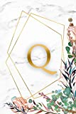 Q: Initial Monogram Letter Q Wide Ruled Blank Notebook for Notes & Writing - Personalized Wide Lined Diary & Journal for Women and Girls - Abstract Marble & Gold Print With A Floral Touch