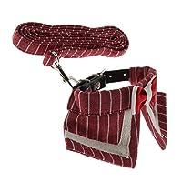 F Fityle ペット 調整可能なリーシュ 犬/猫用ペットカラー ストライプ 蝶タイ 訓練 お散歩 全3スタイル M - 赤いストライプ