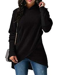 レディース パーカー ポケット付きの不規則な裾のゆったりしたスウェットシャツをフードに入れました