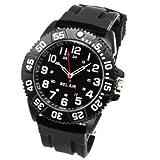 腕時計 メンズ アナログ 回転式ベゼル ミリタリー ビッグフェイス ラバーベルト メンズ腕時計 ブラック