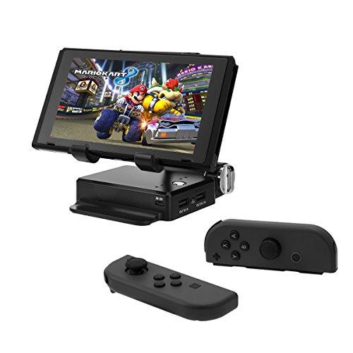 任天堂スイッチ スタンド モバイルバッテリー (10400mAh 2ポート 大容量) 折り畳み式 高度調節可 持ちやすい 充電しながら遊べる テーブルモードに最適 高品質 for Nintendo Switch (ブラック)