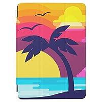カラフルな熱帯日没及びヤシ 木 RECASO IPAD mini 5 mini 2019 第5世代 ケース CASE 綺麗 かわいい おしゃれ スタンド機能 オートスリープ 手帳 タブレット 保護カバー
