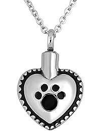 Charmsstoryペット子犬犬PawハートUrnネックレスfor灰Cremationメモリアル記念品ペンダントネックレス