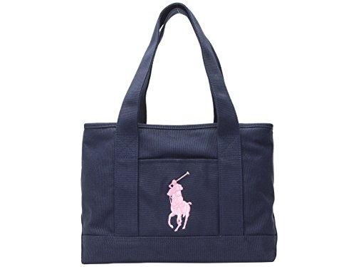(ラルフローレン) Polo Ralph Lauren バッグ BAG SCHOOL TOTE MD トートバッグ ビックポニー キャンバス ブランド 並行輸入品 (ネイビー×ブラッシュピンク)