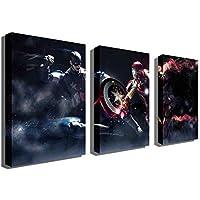 Marvel 油絵 Avengers2 内戦 アイアンマン キャプテンアメリカ ヒーローバトル 装飾 壁画 フレームレス 3枚 (Series 1)